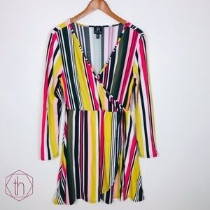 Derek Heart striped wrap dress XL